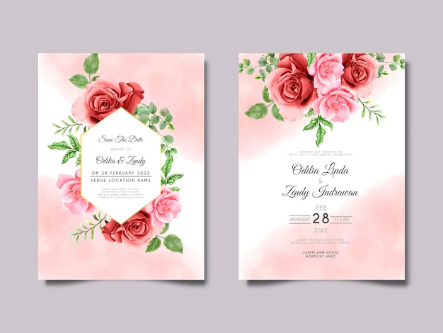 Pink and maroon roses wedding invitation set template
