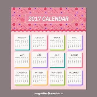 Розовый календарь memphis