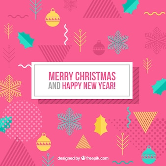 Pink memphis christmas background