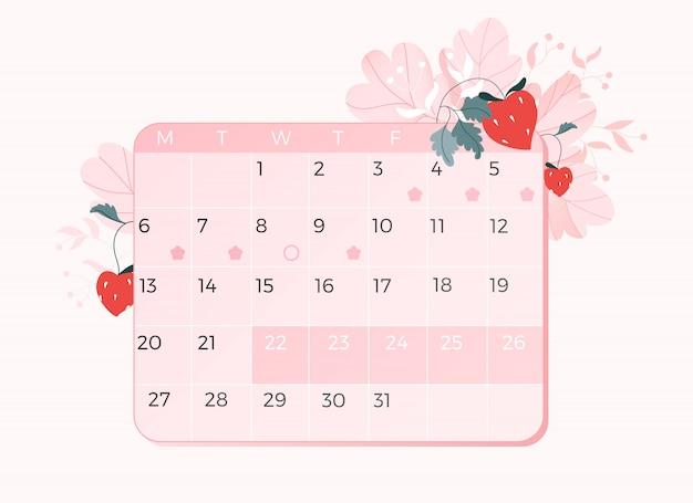 ピンクの月経カレンダー。毎月のカレンダーと花のインフォグラフィック。イチゴと装飾的な要素を残します。 webとアプリのモダンな手描きイラスト。女性の健康。