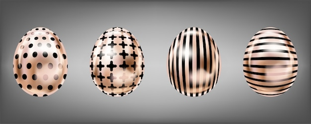 Pink metallic eggs with black cross