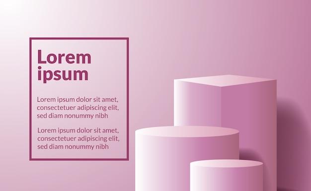제품 배치 또는 상을위한 무대를위한 핑크 미니멀리즘 3d 큐브 및 실린더