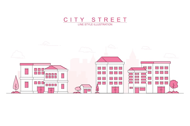 Pink modern city with thin line design style illustration