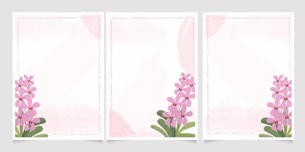 Pink mokara orchid on watercolor splash wedding invitation