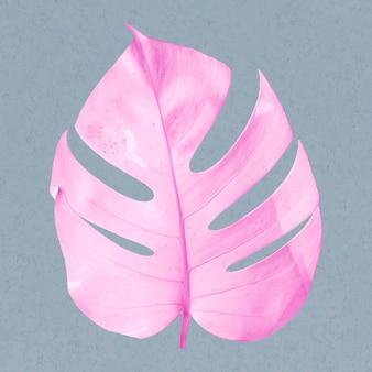 파스텔 톤의 핑크 몬스테라 잎