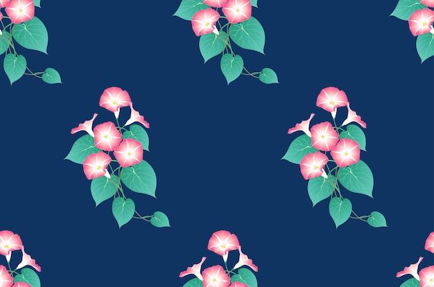 Розовая утренняя слава бесшовная на голубом фоне индиго