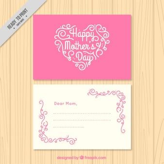 마음으로 핑크 어머니의 날 카드