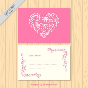 Pink mother's day card with a heart