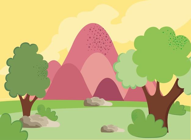 핑크 산 풍경 자연 현장