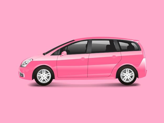 Pink mpv minivan automobile vector