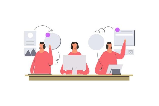 Pink multitasking women doing tasks illustration