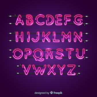 Pink neon alphabet
