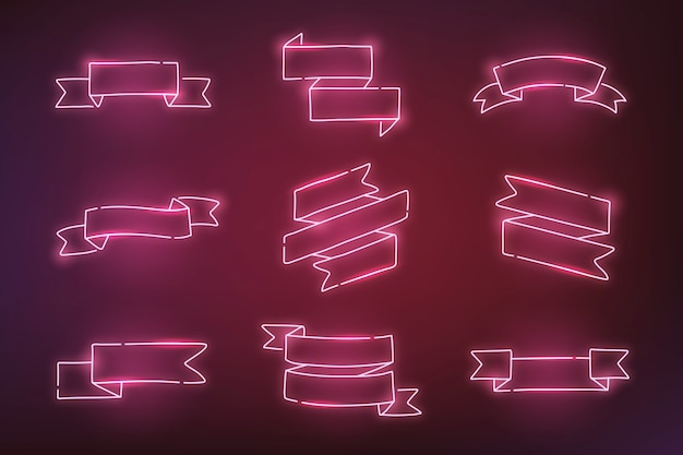 Pink neon banners