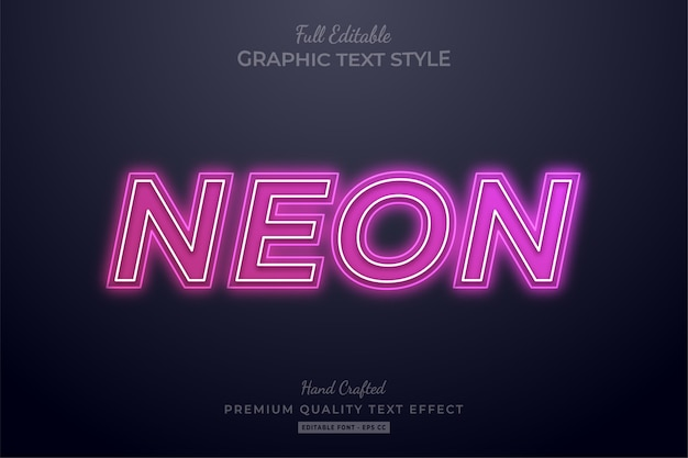 Pink neon editable text effect