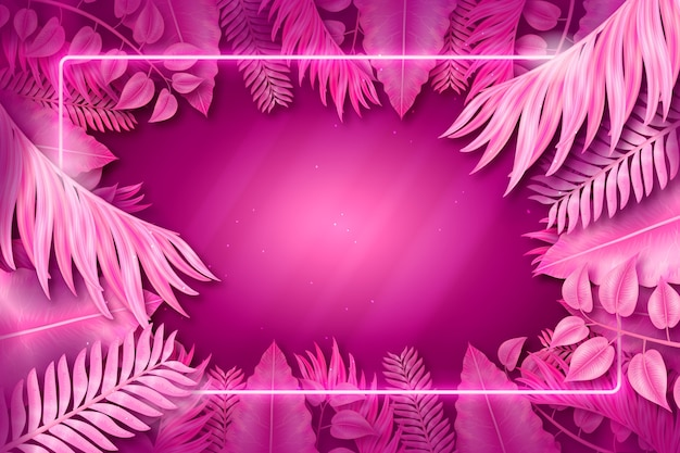 Розовая неоновая рамка с листьями