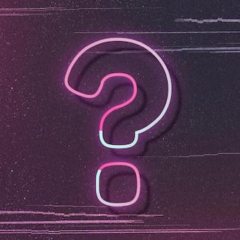 Tipografia di carattere vettoriale di simbolo di punto interrogativo di bagliore al neon rosa
