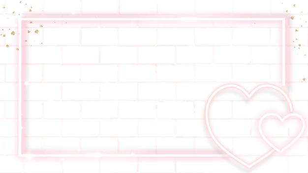 Pink neon valentine's frame