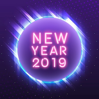 Pink new year 2019 in a blue circle neon sign vector