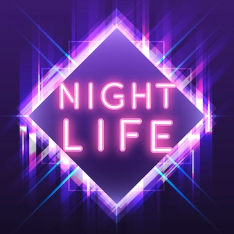 Pink nightlife neon sign vector