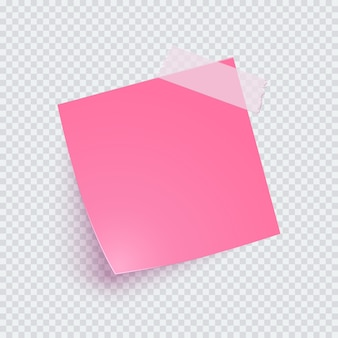 Pink note paper and adhesive tape with shadow, sticker note for reminding, info.