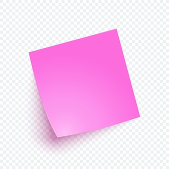 Pink note paper with shadow, sticker note for reminding, list, info.