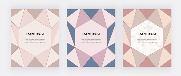 Pink, nude, blue geometric design cover with golden polygonal lines.