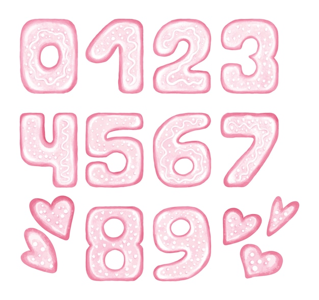 Pink numbers with hearts