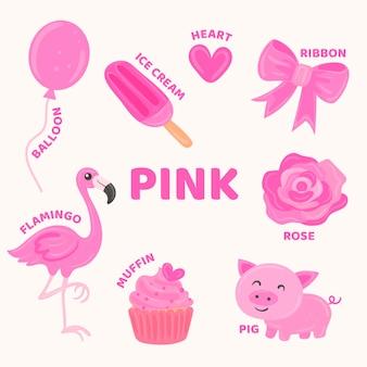 ピンクのオブジェクトと英語で設定された語彙
