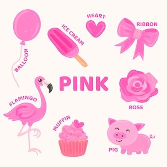 Pink objects and vocabulary set in english