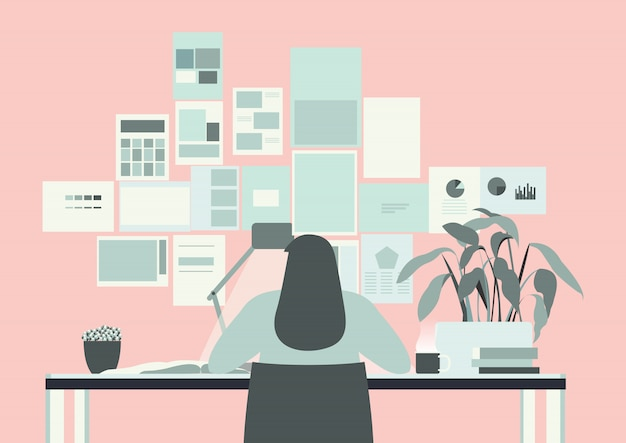 Pink office room with long hair woman working illustration