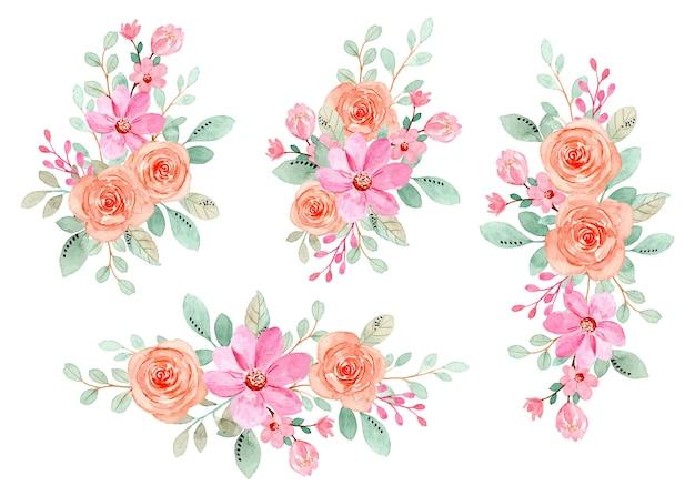 수채화와 핑크 오렌지 꽃 꽃다발 컬렉션