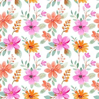 ピンクオレンジフローラル水彩シームレスパターン