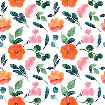 핑크 오렌지 꽃 수채화 원활한 패턴