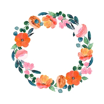 Pink orange floral wreath with watercolor
