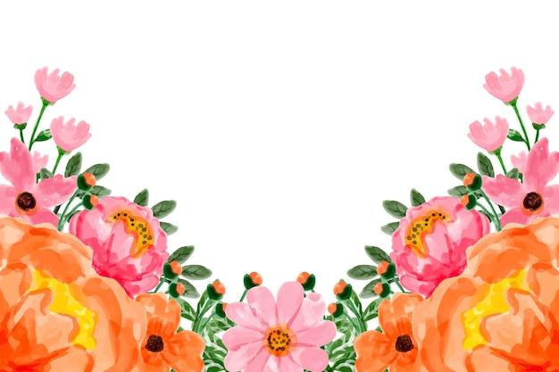 Розовый оранжевый цветочный фон с акварелью