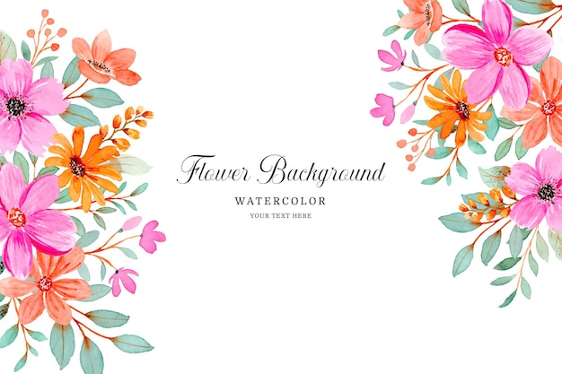 Pink orange flower background with watercolor