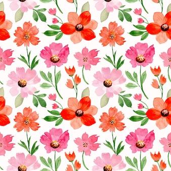 ピンクのオレンジ色の花の水彩画とのシームレスなパターン