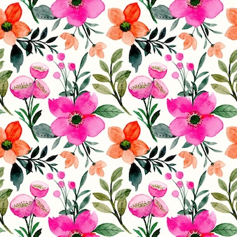 Pink orange flower watercolor seamless pattern