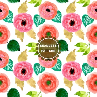 Pink and orange flower watercolor seamless pattern