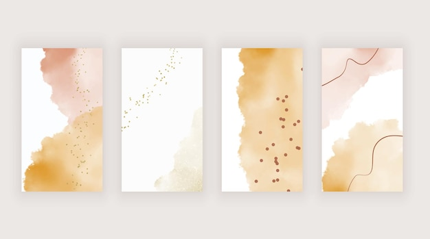 Pink and orange watercolor templates for stories social media
