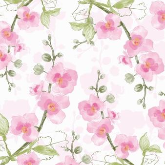 분홍색 난초와 녹색 잎