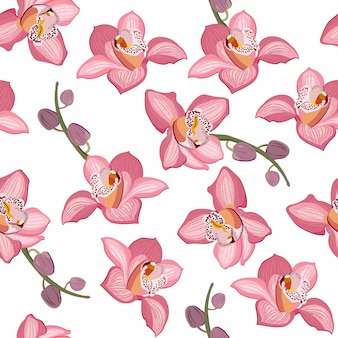 Pink orchid floral seamless pattern. flowers bloom blossom foliage