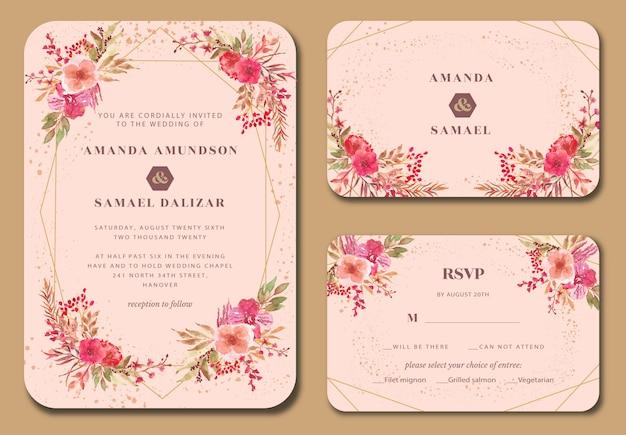 ピンクの蘭の花水彩結婚式招待状