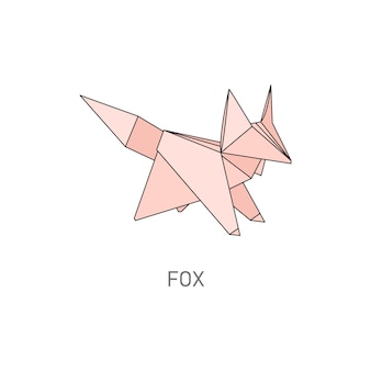 Pink origami fox, creative wild animal shape folded from paper isolated on white background