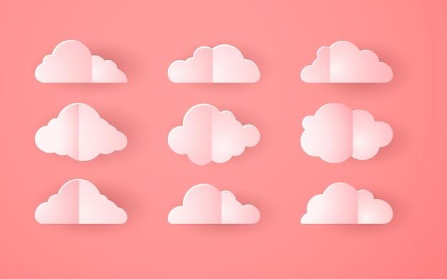 ピンクの折り紙の雲のコレクション