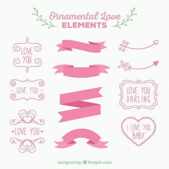 Pink ornamental love elements