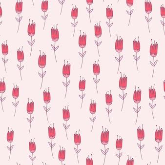 ピンクのアウトラインチューリップの花のシームレスなパターン。白地に紫の輪郭を持つ花飾り。 ed、壁紙、テキスタイル、包装紙、布プリント。図。