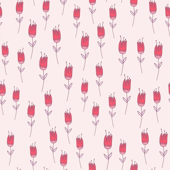 Pink outline tulip flower seamless pattern. floral ornament with purple contour on white background. ed for wallpaper, textile, wrapping paper, fabric print.  illustration.