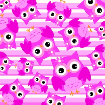Pink owl pattern background