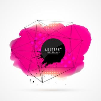 Абстрактный розовый акварель пятно с проволокой фоновый сеткой